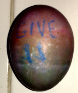 If one is promoting a cause on an egg, one must flip the egg over to see a plea for money!