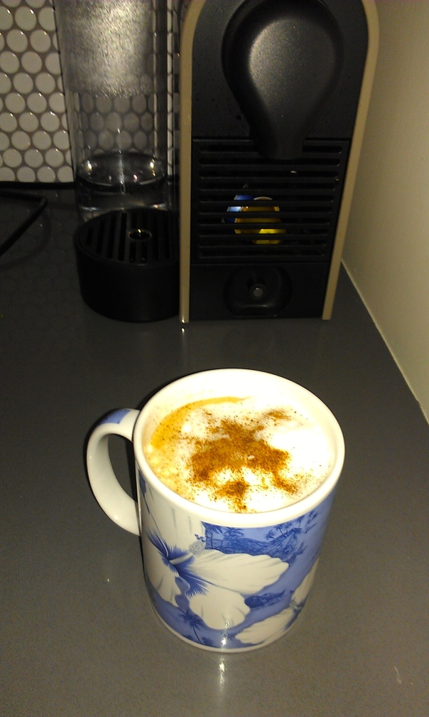 Look at the pretty swirl in this homemade concoction - made for merely pennies compared to a cup at the local coffee shop.