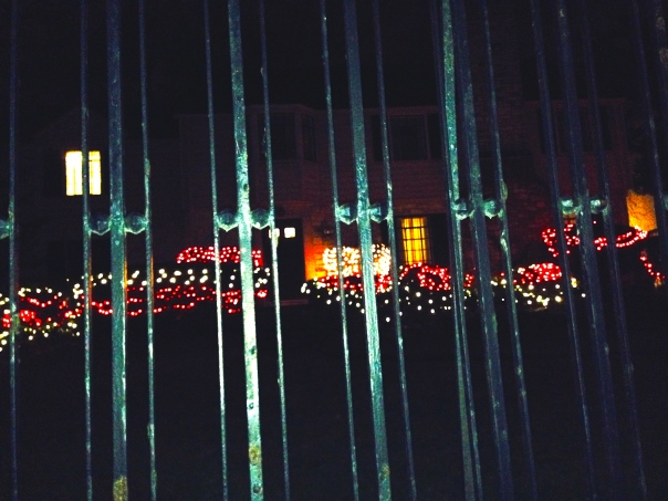 I like the green fence with the red lights...