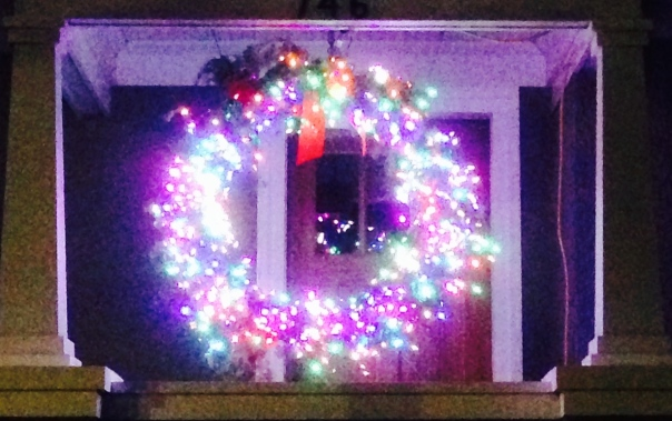 I saw many wreaths with lights this year, but this one is my favorite.